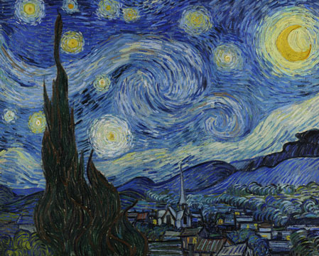 Vincent van Gogh, De sterrennacht (Cypressen en dorp), 1889, New York, Museum of Modern Art